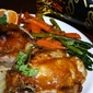 Mango Glazed Rock Cornish Hens stuffed with Wild Rice and Peas