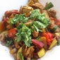 CHICKEN, RED PEPPER AND YELLOW SQUASH STIR-FRY