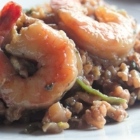 Image of Red Wine Risotto With Shrimp Recipe, Cook Eat Share