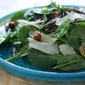 Baby Spinach Salad with Toasted Hazelnuts, Pear, and Parmesan