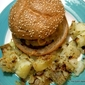 Veggie Burgers and Crunchy Potatoes with Caramelized Onions