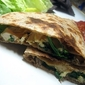 Chicken, Mushroom, and Spinach Quesadilla