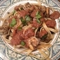 RECIPE: Marinated & Grilled Shrimp and Vegetables with Tomato Onion Puree and Whole Wheat Fettuccini
