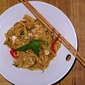 Fresh Coriander Pasta Ribbons with Spicy Peanut Sauce
