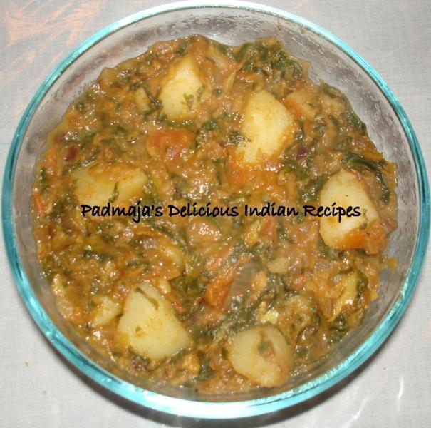 Aloo, Methi curry/ Potato, Fenugreek leaves curry Recipe by Padmaja ...