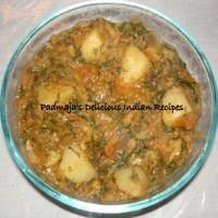 Image of Aloo, Methi Curry/ Potato, Fenugreek Leaves Curry Recipe, Cook Eat Share
