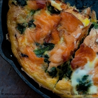 Spinach, Potato, and Smoked Salmon Frittata