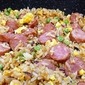 smoked sausage and pea fried rice