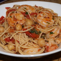 Tuscan shrimp marinara with chickpea pasta