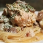 Chicken in White Wine with Mushrooms on a bed of Linguine