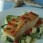 Crispy Halibut with Zucchini Ribbons and Lemony Basil sauce
