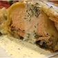 Salmon Baked in Puff Pastry with Dill Sauce