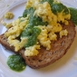 Mascarpone Scrambled Eggs with Arugula Pesto