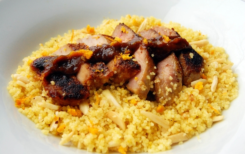 Maple Glazed Pork Loin Chops with Date Sauce and Toasted Couscous with ...