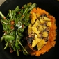 Moroccan Harissa Chicken With Orange Butter Sauce, Carrot Purée and Dandelion Greens