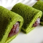Japanese Dessert: Matcha Anko Roll/ Matcha Tea & Sweetmeats Roll Cake