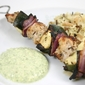 Grilled Chicken Kebobs with Mint-Feta Sauce