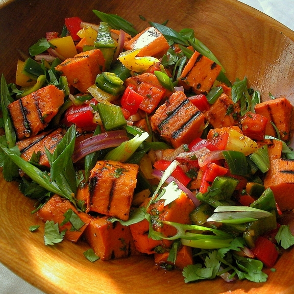 Grilled Sweet Potato-Poblano Salad with Honey, Lime, Cilantro and ...