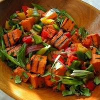 Grilled Sweet Potato-Poblano Salad with Honey, Lime, Cilantro and Pepitas