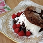 Chocolate Shortcake Recipe with Raspberries, Ice Cream & Fudge Sauce