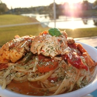 Crockpot Chicken Portabello over Linguine