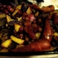 Roasted Italian Sausage with Grapes and Confetti Potatoes (on a bed of Arugula)