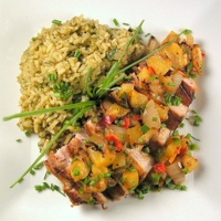 Pork Chops with Grilled Pineapple Salsa and Poblano-Cilantro Rice