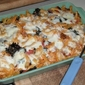 Baked kale, sausage and mozzarella pasta