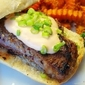 Cajun Steak Sandwiches with Sweet Potato Fries and Creamy Spinach