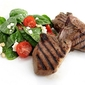 Grilled Lamb Loin Chops with Baby Spinach, Crumbled Feta, and Cherry Tomato Salad