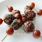 Lamb Meatballs with Roasted Grapes and a Yogurt Dill Sauce