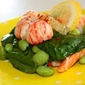 The salad of all seasons – Warm spinach salad with shrimps, langoustines and edamame with a ginger lime vinaigrette