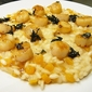 butternut squash risotto with scallops + sage butter