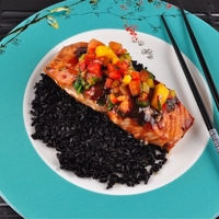 Image of Hoisin Glazed Salmon With Mango Pepper Salsa And Chinese Black Rice Recipe, Cook Eat Share