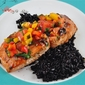 Hoisin Glazed Salmon with Mango Pepper Salsa and Chinese Black Rice