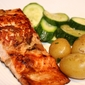 Quickie Dinner for Two: Wasabi Ginger Salmon with zucchini and buttered baby potatoes