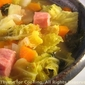 Ham and Savoy Cabbage Soup; more rants on being cold, Weekly Menu