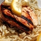 Grilled garlic lemon pepper chicken over linguine