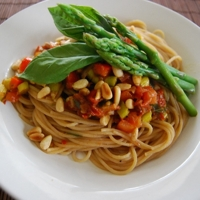Image of Asparagus & Sundried Tomato Spaghettini Recipe, Cook Eat Share