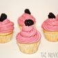 Vanilla Cupcakes with Blackberry Buttercream Frosting