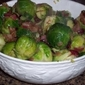 Caramelized Brussel Sprouts with Cranberries and Bacon