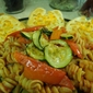 Whole wheat tomato rotini with grilled zucchini, tomato and red pepper