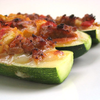 Stuffed Zucchini with Italian Sausage and Parmesan Cheese