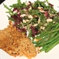 Breadcrumb Fish with Cherry Almond Salad and Greenbeans