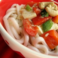 Tofu and Peanut Butter Udon Noodles