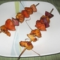African Harissa sauce coated chicken kebabs