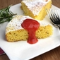 Cornmeal, Rosemary & Lemon Cake with Rhubarb & Strawberry Sauce Recipe