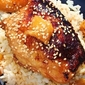sesame chicken teriyaki over white rice