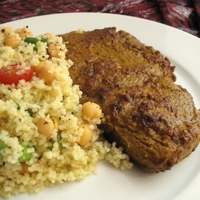 Image of Spiced Steak With Minted Couscous Recipe, Cook Eat Share