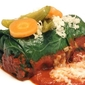 Pinto Bean and Poblano Rice Collard Greens Rolls with Ancho Sauce